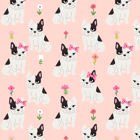 frenchie florals french bulldog cute pet dog fabric blush fabric by charlottewinter on Spoonflower - custom fabric