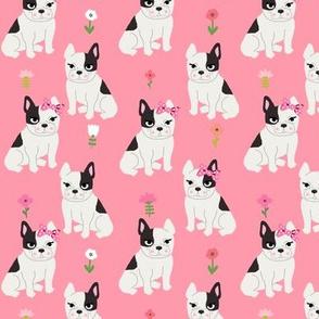 frenchie florals french bulldog cute pet dog fabric medium pink