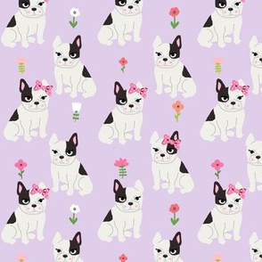 frenchie florals french bulldog cute pet dog fabric light purple