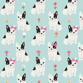 frenchie florals french bulldog cute pet dog fabric light blue