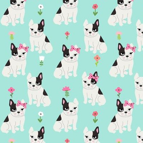 frenchie florals french bulldog cute pet dog fabric mint