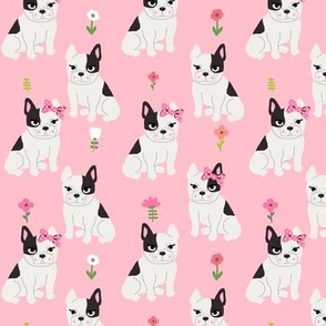 frenchie florals french bulldog cute pet dog fabric light pink
