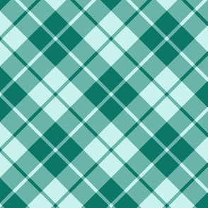 spruce green and pale aqua diagonal tartan