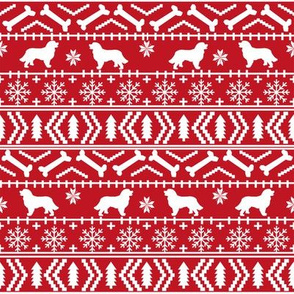 Bernese Mountain Dog fair isle christmas silhouette fabric red