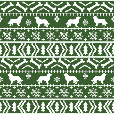 Bernese Mountain Dog fair isle christmas silhouette fabric green ...