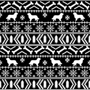 Bernese Mountain Dog fair isle christmas silhouette fabric black and white