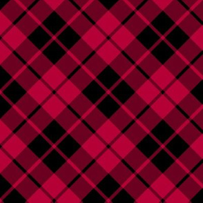 crimson red and black diagonal tartan