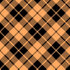 faded orange and black diagonal tartan