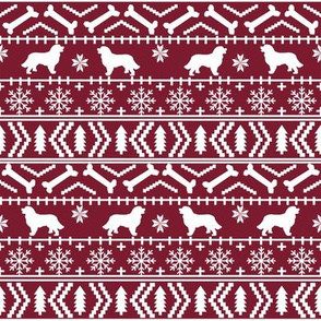 Bernese Mountain Dog fair isle christmas silhouette fabric maroon