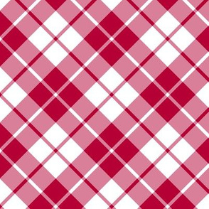 crimson red and white diagonal tartan