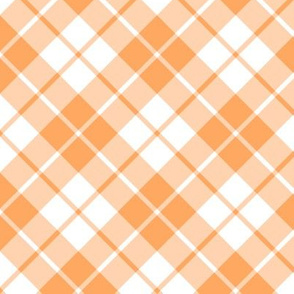 faded orange and white diagonal tartan