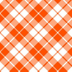 orange and white diagonal tartan