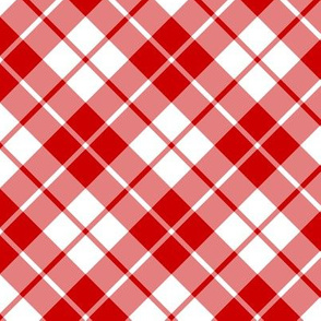 Imperial red and white diagonal tartan