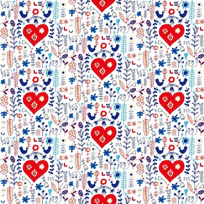 Scandi folk heart white