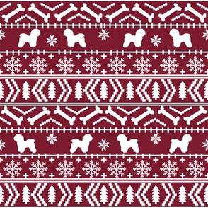 Bichon Frise fair isle christmas silhouette fabric maroon