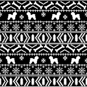 Bichon Frise fair isle christmas silhouette fabric black and white