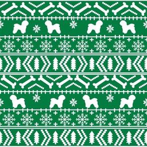 Bichon Frise fair isle christmas silhouette fabric bright green