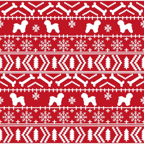 Bichon Frise fair isle christmas silhouette fabric red fabric ...
