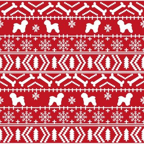 Bichon Frise fair isle christmas silhouette fabric red