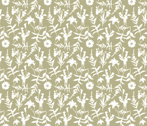White Botanical Outline on Taupe Background fabric by galleryinthegardendesigns on Spoonflower - custom fabric