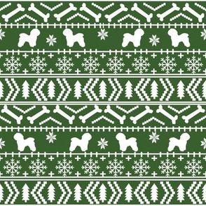 Bichon Frise fair isle christmas silhouette fabric green