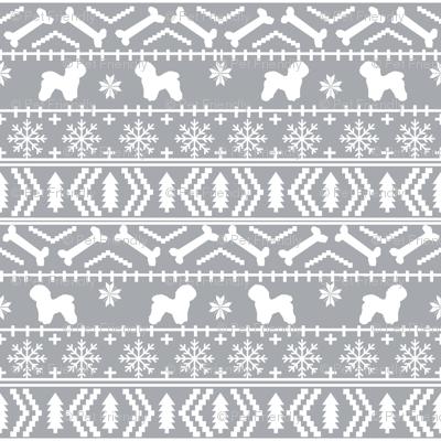 Bichon Frise fair isle christmas silhouette fabric grey fabric ...