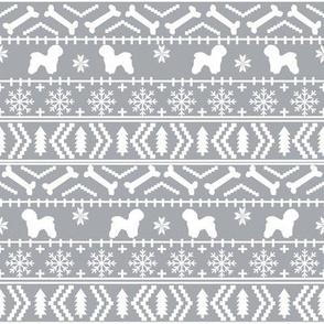 Bichon Frise fair isle christmas silhouette fabric grey