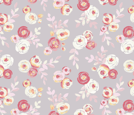 Ranunculus in Lavender and Cream fabric by topsuite on Spoonflower - custom fabric