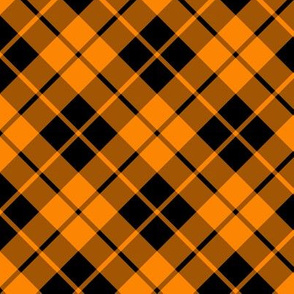 black and bright orange diagonal tartan