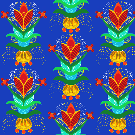 swedish flower with polka dots in royal blue red and gold fabric by lbehrendtdesigns on Spoonflower - custom fabric