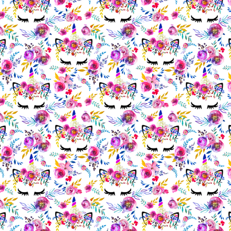 "1.5"" Unicorn Fuchsia Floral small  fabric by lil'faye on Spoonflower - custom fabric"