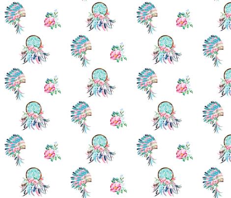 "6"" Aqua & Pink Boho Aztec MIX & MATCH fabric by shopcabin on Spoonflower - custom fabric"