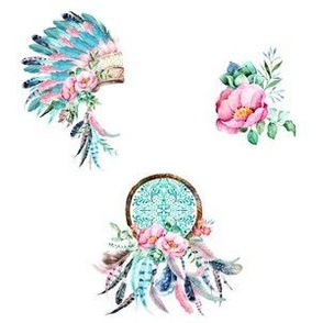 "6"" Aqua & Pink Boho Aztec MIX & MATCH"