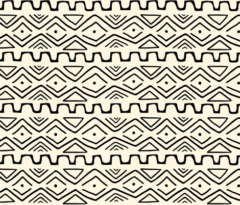 Mud Cloth - Cream fabric by thewellingtonboot on Spoonflower - custom fabric