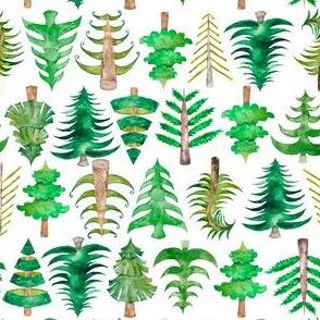 "6"" Green Christmas Trees Watercolor"