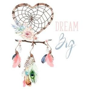 "8"" Dream Big / Love Dreaming Boho Style Dreamcatcher"