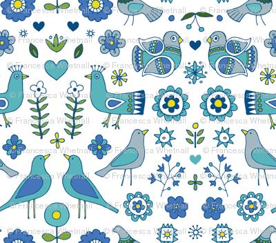 Scandi Folk Birds - Blue and White