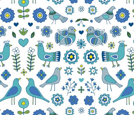 Scandi Folk Birds - Blue and White fabric by cecca on Spoonflower - custom fabric