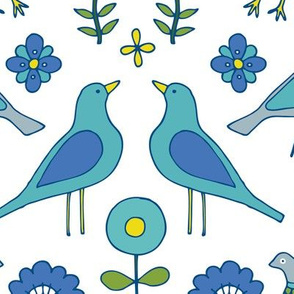 Scandi Folk Birds - Blue and White