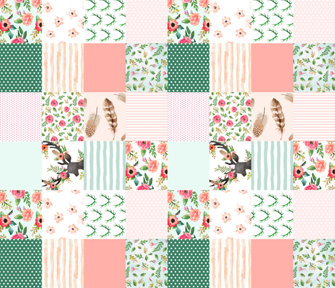 Floral Dreams Deer - Whole Cloth / Cheater Quilt / 90 degrees fabric by shopcabin on Spoonflower - custom fabric