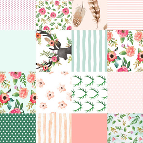 Floral Dreams Deer - Whole Cloth / Cheater Quilt / 90 degrees