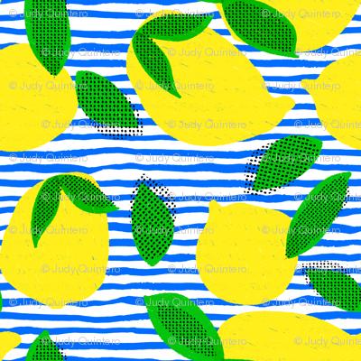 """6"""" Squeeze Me Lemons - Blue Stripes"""