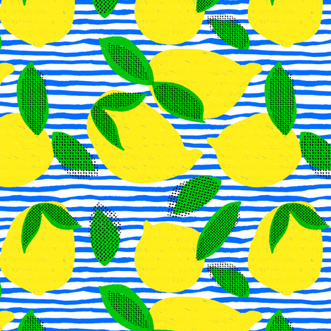 "6"" Squeeze Me Lemons - Blue Stripes fabric by rebelmod on Spoonflower - custom fabric"