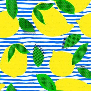 "6"" Squeeze Me Lemons - Blue Stripes"
