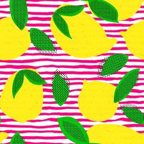 "6"" Squeeze Me Lemons - Bright Pink Stripes"
