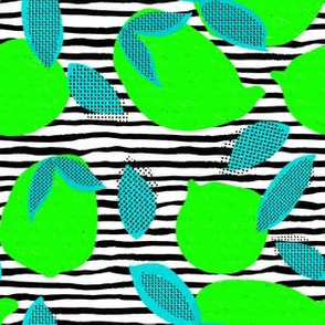 "6"" Squeeze Me Lemons - Neon Limes Green Black Stripes"