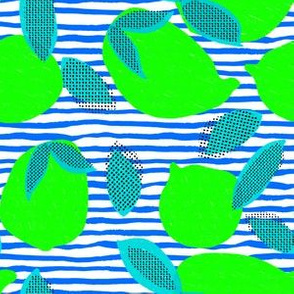 """6"""" Squeeze Me Lemons - Neon Limes Aqua Blue Stripes"""
