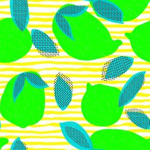 "6"" Squeeze Me Lemons - Neon Limes Yellow Stripes"