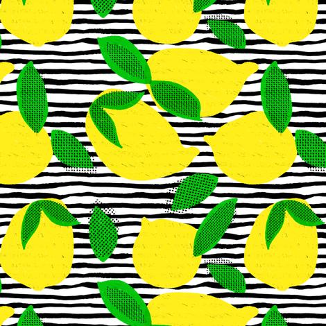 "6"" Squeeze Me Lemons - Stripes fabric by rebelmod on Spoonflower - custom fabric"