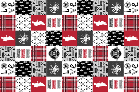 Firefighter Faux Quilt - Special Edition (Vertical) fabric by blackberrylaneco on Spoonflower - custom fabric
